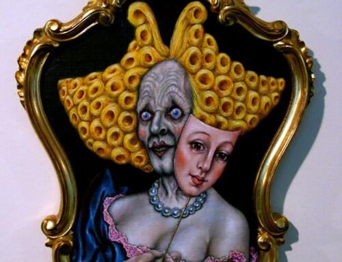 Mask triptych yellow